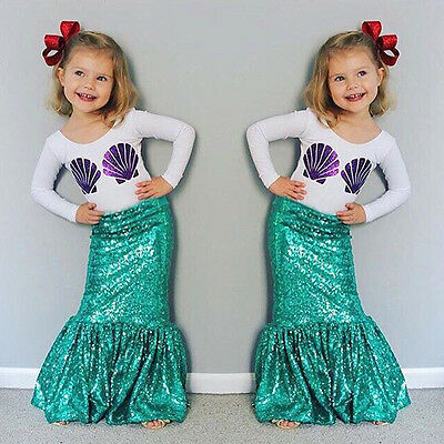 Kids Girls Mermaid Shirt Long Skirt Dress 2PCS Outfits Set Cosplay Clothes 3-8 Y