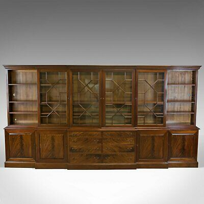 Large Breakfront Bookcase Cabinet, Mahogany, Glazed, Georgian Revival C20th