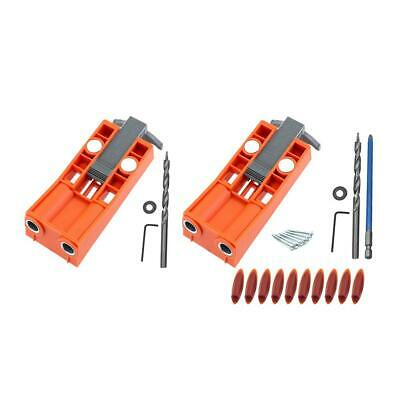Woodworking Pocket Hole Jig Kit Drill Guide Set Puncher Locator w/2 Magnets UK