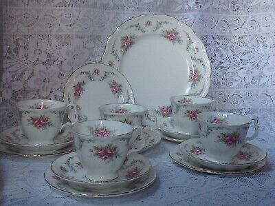Tranquility By Royal Albert, 16 Piece Rose Part Tea Set Cups Saucers Tea Plates