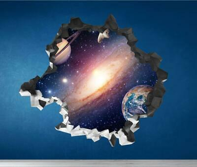 Space Planets Galaxy Cracked Wall Art Sticker Decal Transfer Bedroom Mural