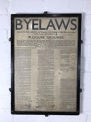 1960's Vintage Park Byelaws Sign By-law High Wycombe Road Decorative Antique