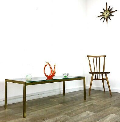 Stunning Mid Century  Brass & Glass  Coffee Table Vintage Side Table