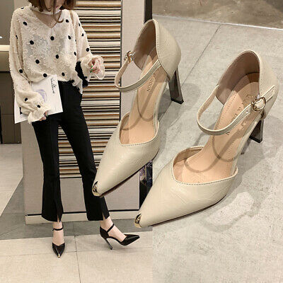 Womens Ladies Block High Heels Court Shoes Mary Jane Strap Formal Office Sandals