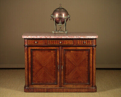 Antqiue Marble Top & Parquetry Commode Side Cabinet c.1905.