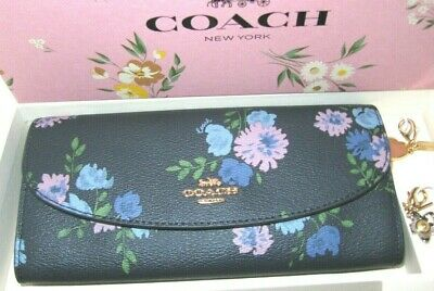 COACH F73352 MOTHERS DAY GIFT BOX SET PEONY PRINT WALLET /& 2 CHARMS NAVY $278