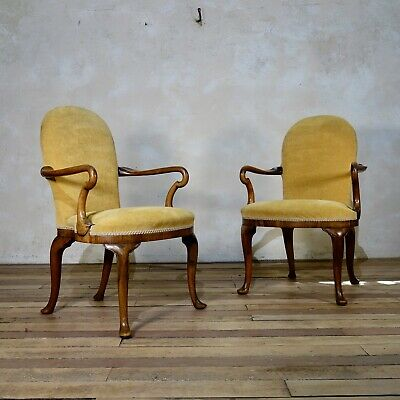A Pair Of Antique Yellow Upholstered George I Style Armchairs 20th C Chair Seat