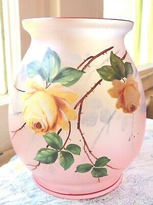 ANTIQUE BOHEMIAN CZECH ART GLASS PINK FROSTED VASE w YELLOW ROSES-3 DAYS SHIPPNG