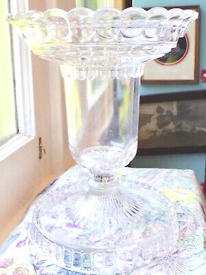 Antique Eapg Glass Large Footed Scalloped Balluster Vase - Ships Within 3 Days