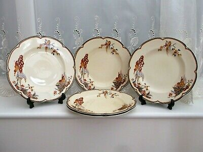 Woods Ivory Ware Rare Dinner Plates  *The Gables* X 5