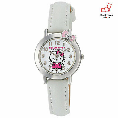 New Hello Kitty Girls Watches CITIZEN Q&Q White Leather Belt HK23-002 Waterproof