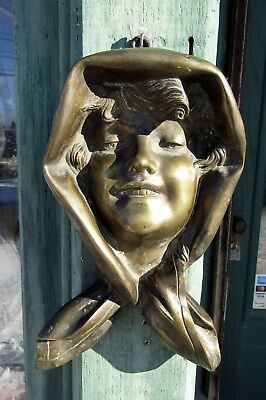 Antique Art Nouveau Bronze Girl Wall Plaque