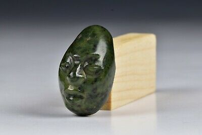 Pre Columbian Carved Jade Maskette Head