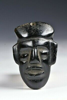 Pre Columbian Carved Obsidian Pendant Head