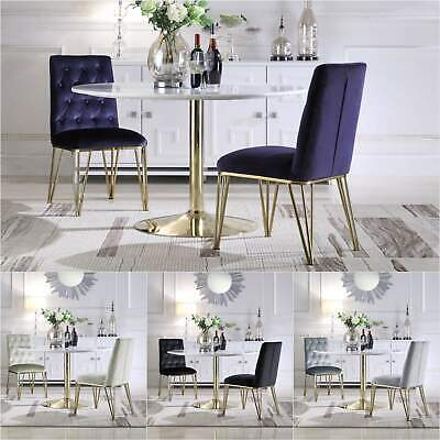 Iconic Home Callahan Dining Chair Velvet Solid Gold Tone Spindle Legs Set of 2
