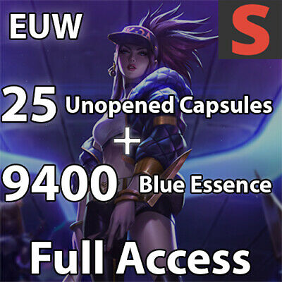 EUW League of Legends LoL Account | 25 Capsule + 9400+ BE | E-Mail changable