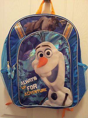 Disney Frozen Themed Backpack Olaf & Sven Blue Multi Colored Zip Compartments