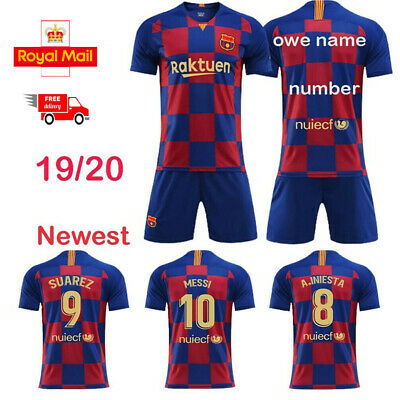 19/20 Blue Soccer Boys Football Club Home Jersey Suit Shirt Short For Kids Kits