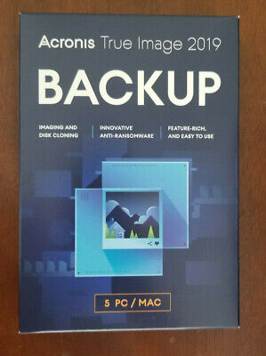 ACRONIS TRUE IMAGE 2019 5 Devices / Computers New Sealed Box Ships FAST 3 Days !