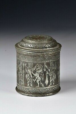 19th Century Middle Eastern Tinned Copper Container with Characters & Animals