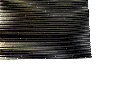 3mm Thick Black Fine Ribbed Ridged Grooved Rubber Mat Lining Squares Sheet Pad