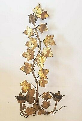 ITALIAN MADE Hollywood Regency Style Gilt Metal Gold Leaves 2 Candle Wall Sconce