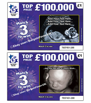 Baby Scan Photo Pregnancy Announcement Scratchcard Card REVEALS SCAN PHOTO