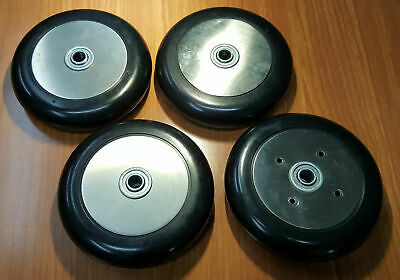 Four(4) Slick Solid Rubber Wheels with Bearings Tires Wheel Tire Rim Hub HDPE