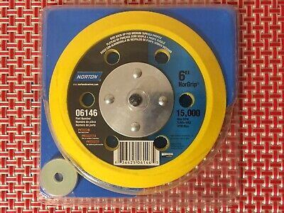 "NORTON NorGrip 63642506146 Medium Tapered Pad 6 Holes, 6"" Diameter, 15000 RPM"