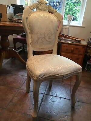 French Louis Style Bedroom Chair Reupholstered in Cream Shabby Chic