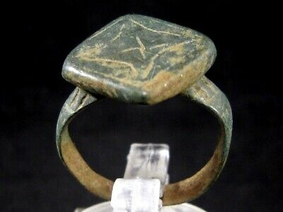 CHOICE LATE ROMAN BRONZE CHRISTIAN RING with CROSS ON THE TOP+++