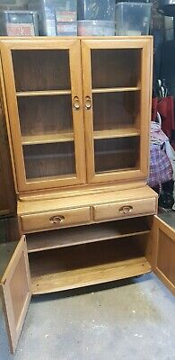 Ercol Light Elm WINDSOR DISPLAY CABINET SIDEBIARDLate 20th century, solid elm