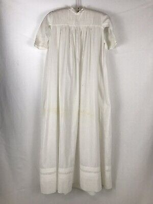 True Vintage White Baby Christening Baptism Gown 60's 1960's Cotton Imperfect