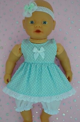 "PlaynWear Doll Clothes 13""Little Baby Born/Mommy POLKA DOT DRESS~BLOOMERS~H/BAND"