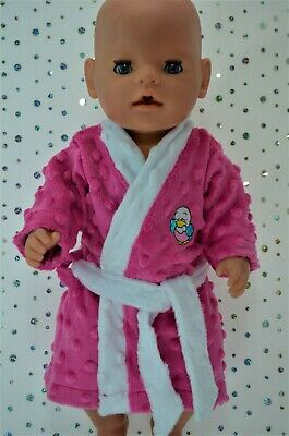 """Play n Wear Dolls Clothes To Fit 17"""" Baby Born HOT PINK MINKY DRESSING GOWN"""