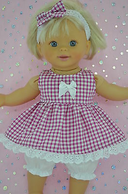 "PlaynWear Doll Clothes For 13"" My Little Mommy/Baby Born DRESS~BLOOMERS~HEADBAND"