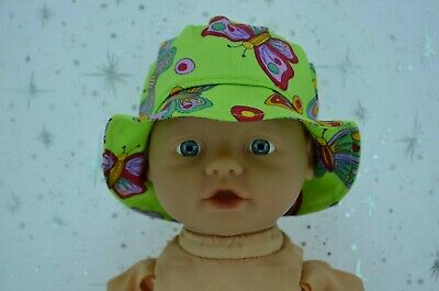 "PlaynWear Doll Clothes For 13"" My Little Baby Born LIME/BUTTERFLY DRILL SUN HAT"