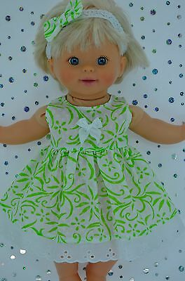 "PlaynWear Doll Clothes 13""Little Mommy/Baby BornWHITE/LIME FLOWER DRESS~HEADBAND"
