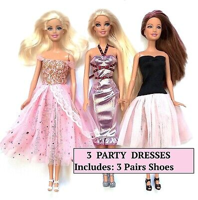Brand new barbie doll clothes outfit clothing set of 3 party dresses evening