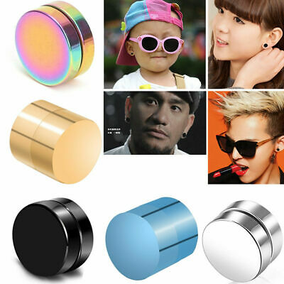 Magnetic Earrings Ear Stud Mens Women's NO PIERCING Jewellery Round 1PC 6 Colors