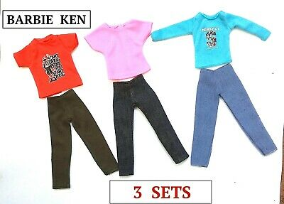 New Barbie Doll Ken Doll outfit clothing clothes tops pants set of 3 outfits