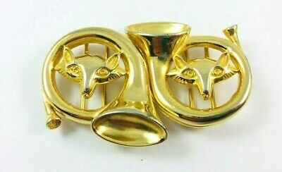 Vintage Dotty Smith English Fox Hunting Horn Gold Tone Belt Buckle
