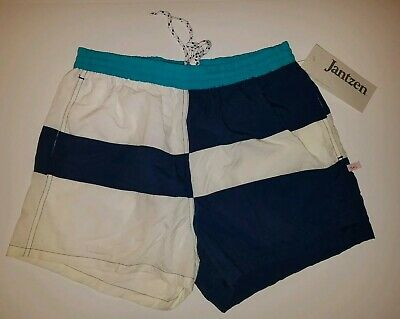Vintage Jantzen Swim Trunks Short Mens Sz Med Blue Drawstring Slit Pockets  NWT