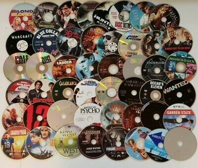Wholesale Lot of 100 Assorted Movie DVDS  (DISC ONLY)