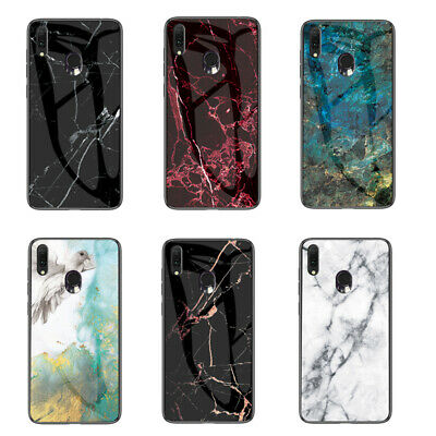 For Samsung Galaxy A20e Hybrid Shockproof Marble Back Tempered Glass Case Cover