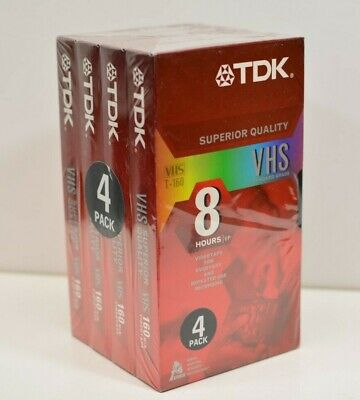 4 PACK TDK Blank VHS Video Tapes 8 Hours EP T-160 Superior Quality SEALED