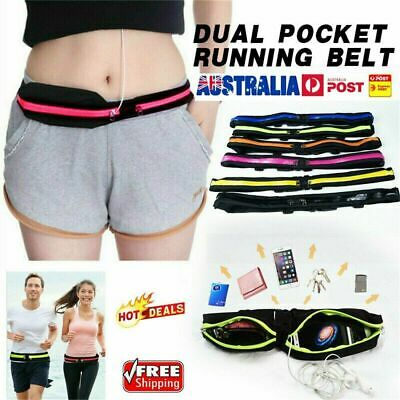 Dual Pocket Sports Running Belt Phone Pouch Waist Bag Travel Pack Outdoor S4