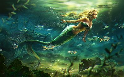 HD Print Oil Painting On Canvas Home Decor mermaid fishes blonde green chesL120