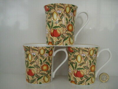3  X  Queens William Morris Collection Tapestries Orchard Tea Coffee Mugs Fruits