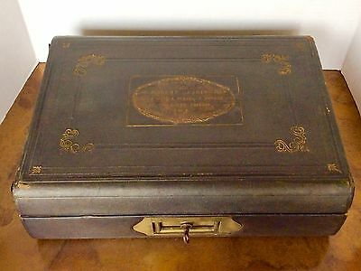 Antique English Victorian PERRY & Co Leather Folding Lapdesk W Key 1888